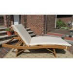 Siesta Wicker Chaise with Adjustable Back and Cushion - GOLDEN HONEY-SIDE VIEW