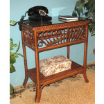 Scarlet Natural Wicker Console Table - COFFEE