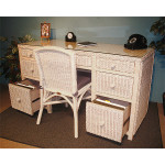 Traditional Double Wicker Desk W/File Drawers & Chair - WHITEWASH