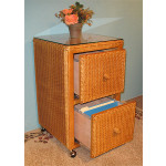 Wicker File Cabinet 2 Drawers - CARAMEL