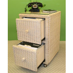 Wicker File Cabinet 2 Drawers - WHITEWASH