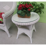Round Wicker End Table with Glass Top   - WHITE