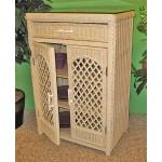 Single Lattice Wicker Cabinet - WHITEWASH