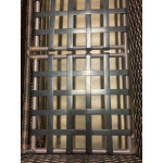 Basketweave Outdoor Resin Wicker Ottoman  - VINYL STRAPPING