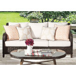 Canyon Lake All Weather Resin Wicker Outdoor Sofa - DARK BROWN