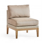 Contempo Wood and Wicker Armless Chair -
