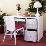 Traditional Wicker Desk W/File Cabinet Drawers & Chair - WHITE