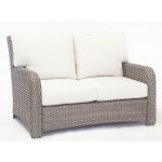 St Croix All Weather Outdoor Resin Wicker Loveseat - STONE