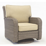 St Croix All Weather Outdoor Resin Wicker Swivel Glider Chair - STONE