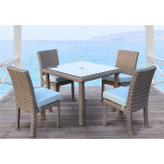5 Piece St Croix Outdoor Resin Wicker Dining Set - STONE