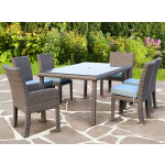 7 Piece St Croix Outdoor Resin Wicker Dining Set - STONE