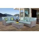 5 Piece Resin Wicker Furniture Set, St Croix - STONE