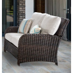 St Croix All Weather Outdoor Resin Wicker Loveseat - TOBACCO