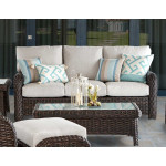 All Weather Outdoor Resin Wicker Sofa, St Croix - TOBACCO