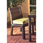 St. Croix All Weather Outdoor Resin Wicker Dining Side Chair - TOBACCO