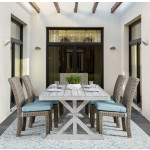 9 Piece (8 chairs) St Croix Outdoor Aluminum Slat Top Dining Set - TOBACCO