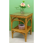 Square Ashley Natural Wicker Table with Glass Top (4 colors) - CARAMEL