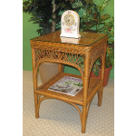 Square Ashley Natural Wicker Table with Glass Top (4 colors) - TEAWASH