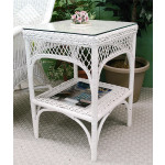 Square Ashley Natural Wicker Table with Glass Top (4 colors) - WHITE
