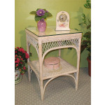 Square Ashley Natural Wicker Table with Glass Top (4 colors) - WHITEWASH