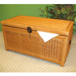 Woodlined Wicker Chest (Small) - CARAMEL