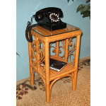 Sweetheart Wicker Telephone Table with Glass Top - CARAMEL