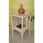 Sweetheart Wicker Telephone Table with Glass Top - WHITEWASH