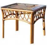 Old Town Rattan End Table with Glass Top - CINNAMON