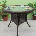 """36"""" Round Resin Bistro Table w/Glass Top (No Umbrella Hole) - ANTIQUE BROWN"""