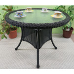 "36"" Round Resin Bistro Table w/Glass Top (No Umbrella Hole) - BLACK"