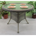 """36"""" Round Resin Bistro Table w/Glass Top (No Umbrella Hole) - DRIFTWOOD"""