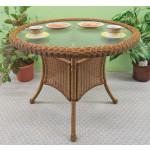 "36"" Round Resin Bistro Table w/Glass Top (No Umbrella Hole) - GOLDEN HONEY"