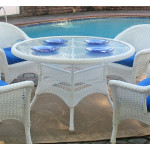 """Resin Wicker Dining Table 48"""" Round - WHITE"""
