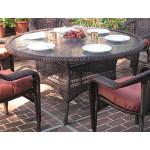 """Resin Wicker Dining Table 60"""" Round  - ANTIQUE BROWN"""