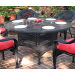 """Resin Wicker Dining Table 60"""" Round  - BLACK"""