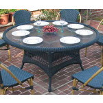 """Resin Wicker Dining Table 60"""" Round  - GREEN"""