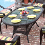 "Resin Wicker Dining Table 72"" Oval - BLACK"