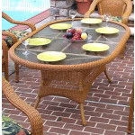 "Resin Wicker Dining Table 72"" Oval - GOLDEN HONEY"