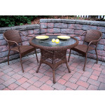 "Resin WIcker Dining Set 36"" Round, - ANTIQUE BROWN"