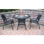"Resin WIcker Dining Set 36"" Round, - BLACK"