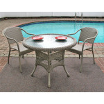 "Resin WIcker Dining Set 36"" Round, - DRIFTWOOD"