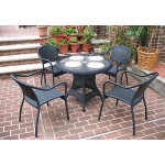 "Resin Wicker Dining Set, 36"" Round  in 5 colors - BLACK"