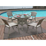 "Resin Wicker Dining Set, 36"" Round  in 5 colors - DRIFTWOOD"
