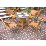 "Resin Wicker Dining Set, 36"" Round  in 5 colors - GOLDEN HONEY"