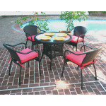 "Resin Wicker Dining Set 36"" Round in 5 Colors - BLACK"