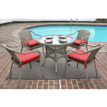"Resin Wicker Dining Set 36"" Round in 5 Colors - DRIFTWOOD"