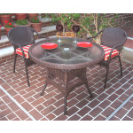 "Resin Wicker Dining Set. 36"" Round,  5 colors - ANTIQUE BROWN"