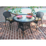 "Resin Wicker Dining Set. 36"" Round,  5 colors - BLACK"