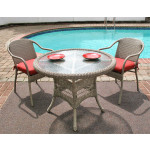 "Resin Wicker Dining Set. 36"" Round,  5 colors - DRIFTWOOD"