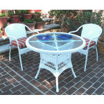 "Resin Wicker Dining Set. 36"" Round,  5 colors - WHITE"